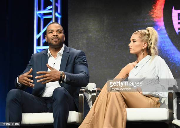 Hosts Method Man and Hailey Baldwin of 'Drop The Mic' speak onstage during the TCA Turner Summer Press Tour 2017 Presentation at The Beverly Hilton...