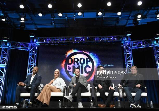 Hosts Method Man Hailey Baldwin executive producers Ben Winston Jensen Karp and James Corden of 'Drop The Mic' speak onstage during the TCA Turner...