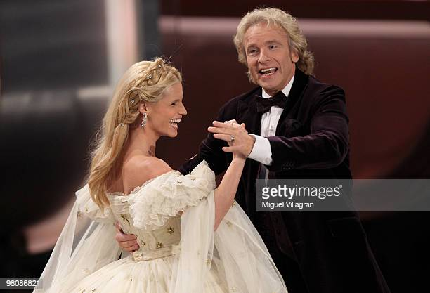 TV hosts Michelle Hunziker and Thomas Gottschalk dance a walse during the 188th 'Wetten dass ' show at Messezentrum Salzburg on March 27 2010 in...