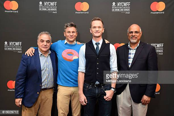 Hosts Neil Patrick Harris and David Burtka pose with Lee Schranger of NYCWFF and Raja Rajamannar of Mastercard at Variety presents Broadway Tastes a...