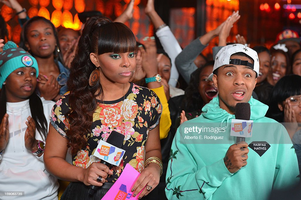 TV hosts Paigion and <a gi-track='captionPersonalityLinkClicked' href=/galleries/search?phrase=Bow+Wow+-+Rapper&family=editorial&specificpeople=211211 ng-click='$event.stopPropagation()'>Bow Wow</a> at a live taping of BET's '106& Park' at The Conga Room at L.A. Live on January 4, 2013 in Los Angeles, California.