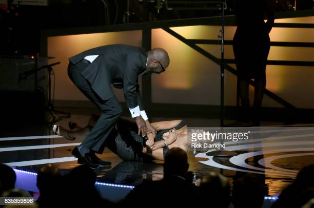Hosts Rickey Smiley and Letoya Luckett speak onstage at the 2017 Black Music Honors at Tennessee Performing Arts Center on August 18 2017 in...