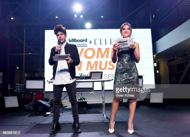 Hosts Rudy Mancuso and Alexys Gabrielle speak onstage during the '2017 Billboard Music Awards' And ELLE Present Women In Music at YouTube Space LA on...