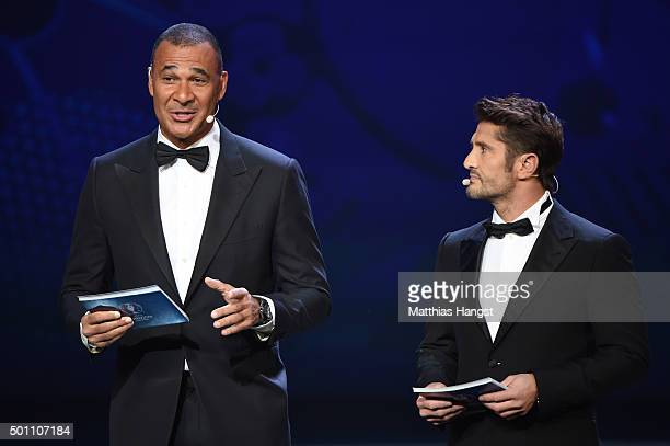 Hosts Ruud Gullit and Bixente Lizarazu on stage during the UEFA Euro 2016 Final Draw Ceremony at Palais des Congres on December 12 2015 in Paris...
