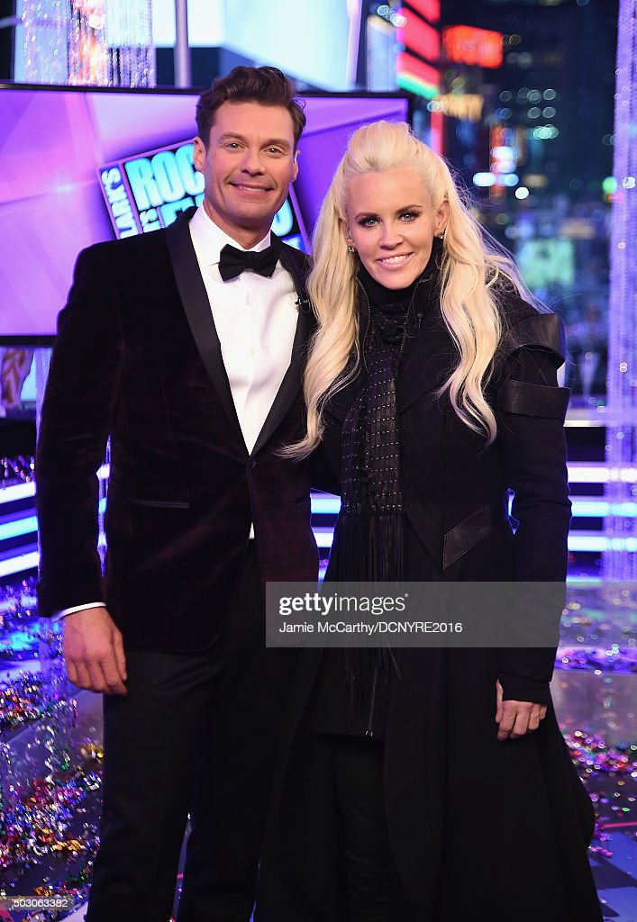 Hosts Ryan Seacrest and Jenny McCarthy attend the Dick Clark's New Year's Rockin' Eve with Ryan Seacrest 2016 on December 31, 2015 in New York City.