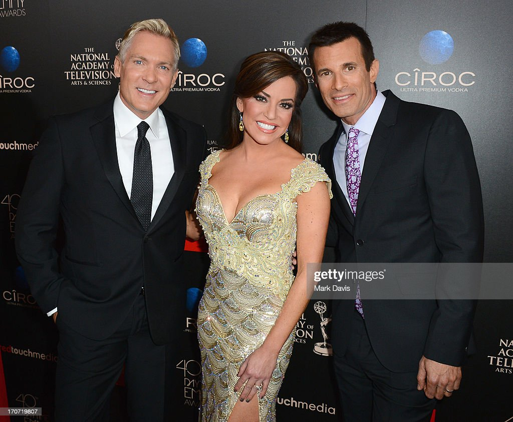 Hosts <a gi-track='captionPersonalityLinkClicked' href=/galleries/search?phrase=Sam+Champion&family=editorial&specificpeople=724932 ng-click='$event.stopPropagation()'>Sam Champion</a>, Robin Meade and AJ Hammer attend The 40th Annual Daytime Emmy Awards at The Beverly Hilton Hotel on June 16, 2013 in Beverly Hills, California.