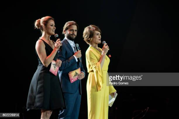 Hosts Silvia Alberto Joao Manzarra and Fatima Lopes during Juntos por Todos solidarity concert for the victims of the forest fires in the Pedrogao...