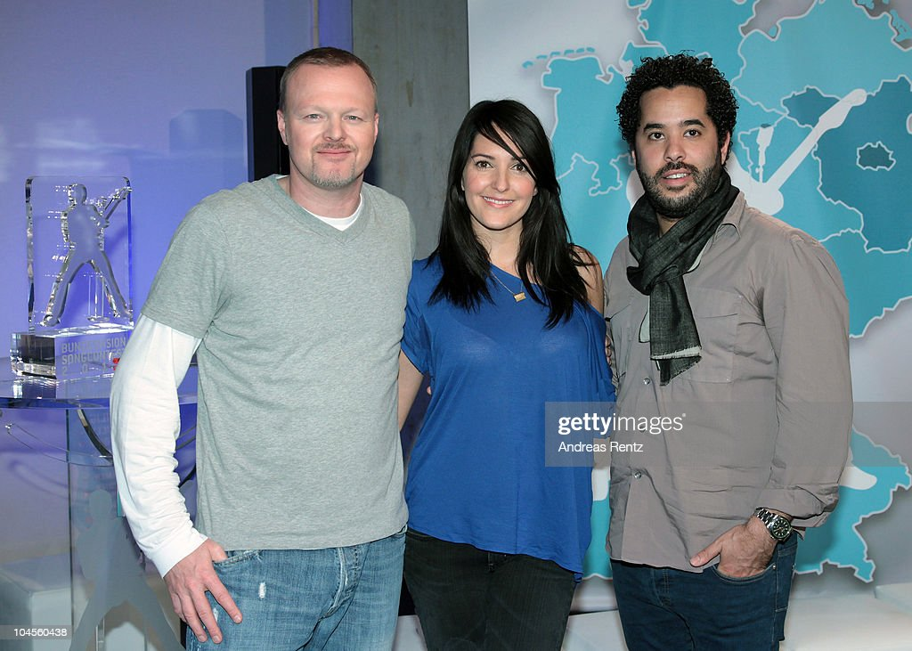 TV hosts Stefan Raab, Johanna Klum and singer Adel Tawil attend a press conference to promote the 'Bundesvision Song Contest 2010' at the Max-Schmeling Hall on September 30, 2010 in Berlin, Germany.