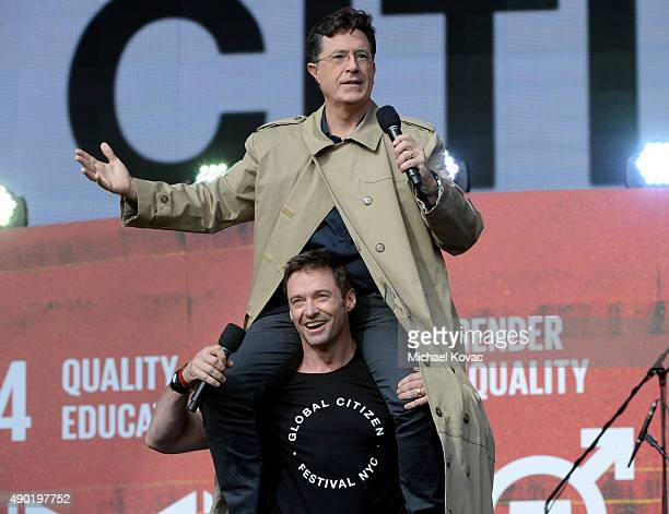 Hosts Stephen Colbert and Hugh Jackman onstage at the 2015 Global Citizen Festival in Central Park on September 26 2015 in New York City