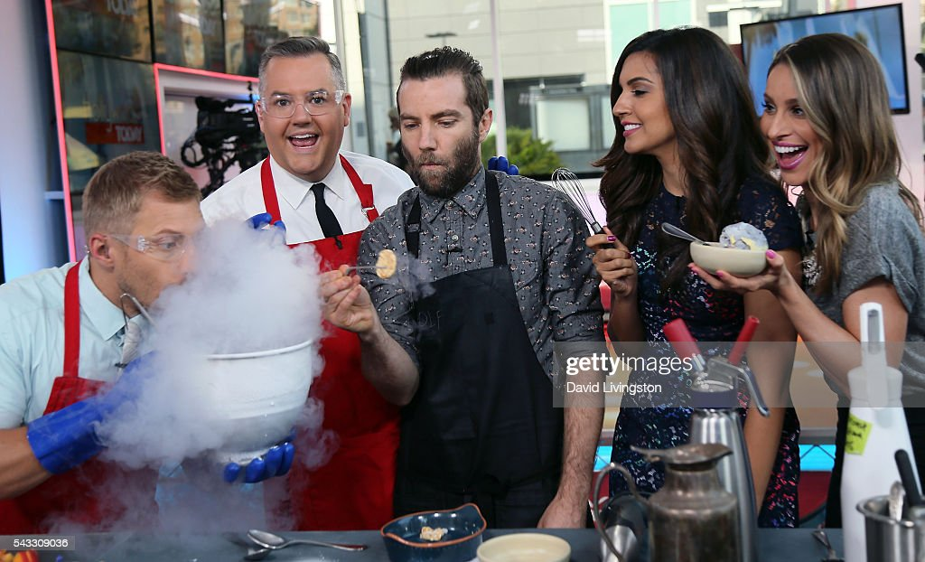 Hosts Tanner Thomason and <a gi-track='captionPersonalityLinkClicked' href=/galleries/search?phrase=Ross+Mathews&family=editorial&specificpeople=2993770 ng-click='$event.stopPropagation()'>Ross Mathews</a>, Chef Marcel Vigneron and hosts Amanda Salas and Kristen Brockman attend Hollywood Today Live at W Hollywood on June 27, 2016 in Hollywood, California.