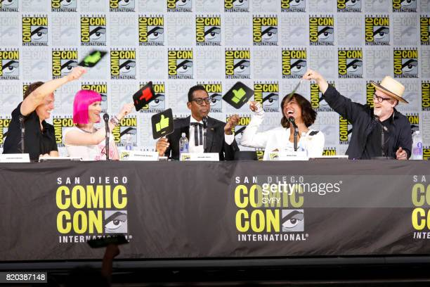 DIEGO 'SYFY Hosts The Great Debate Panel' Pictured John Barrowman Charlie Jane Anders Orlando Jones Aisha Tyler and Adam Savage