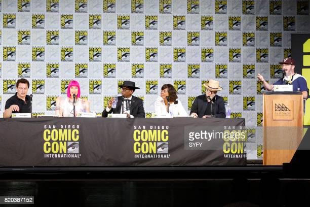 DIEGO 'SYFY Hosts The Great Debate Panel' Pictured John Barrowman Charlie Jane Anders Orlando Jones Aisha Tyler Adam Savage and moderator John Hodgman