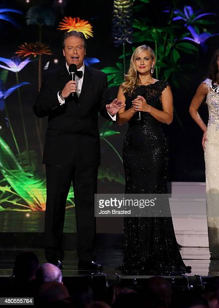 Hosts Todd Newton and Former Miss Wisconsin Alex Wehrley speak onstage at the 2015 Miss USA Pageant Only On ReelzChannel at The Baton Rouge River...