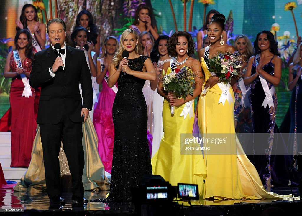 Hosts Todd Newton and Former Miss Wisconsin Alex Wehrley speak on stage with Miss Congeniality winners Miss Alaska Kimberly Dawn Agron and Miss Delaware Renee Bull at the 2015 Miss USA Pageant Only On ReelzChannel at The Baton Rouge River Center on July 12, 2015 in Baton Rouge, Louisiana.