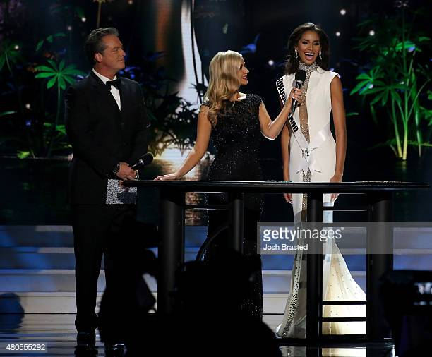 Hosts Todd Newton and Former Miss Wisconsin Alex Wehrley speak on stage with Miss Rhode Island Anea Garcia at the 2015 Miss USA Pageant Only On...