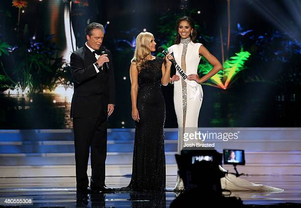 Hosts Todd Newton and Former Miss Wisconsin Alex Wehrley speak onstage with Miss Rhode Island Anea Garcia at the 2015 Miss USA Pageant Only On...