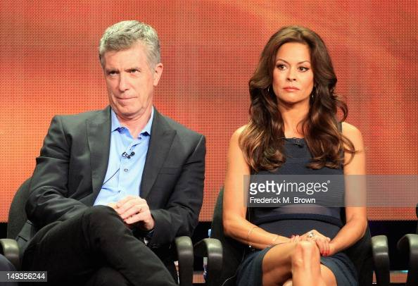 Hosts Tom Bergeron and Brooke BurkeCharvet speak onstage at the 'Dancing with the Stars AllStars' panel during the Disney/ABC Television Group...