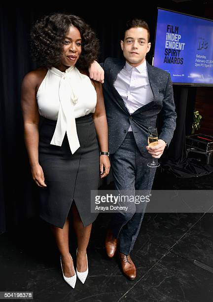 Hosts Uzo Aduba and Rami Malek attend the 2016 Film Independent Filmmaker Grant and Spirit Award Nominees Brunch at BOA Steakhouse on January 9 2016...