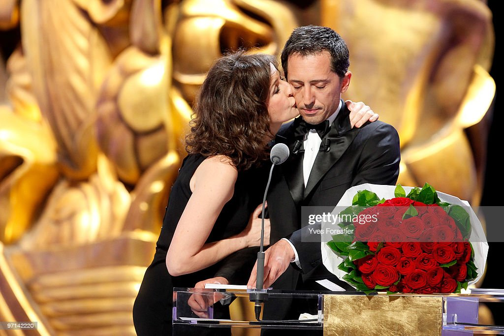 Hosts Valerie Lemercier and Gad Elmaleh perform onstage during the 35th Cesar Film Awards held at Theatre du Chatelet on February 27 2010 in Paris...
