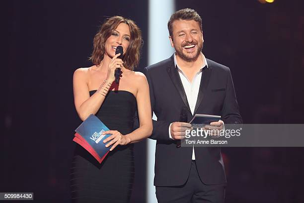 Hosts Virginie Guilhaume and Bruno Guillon during 'Les Victoires De La Musique' at Le Zenith on February 12 2016 in Paris France
