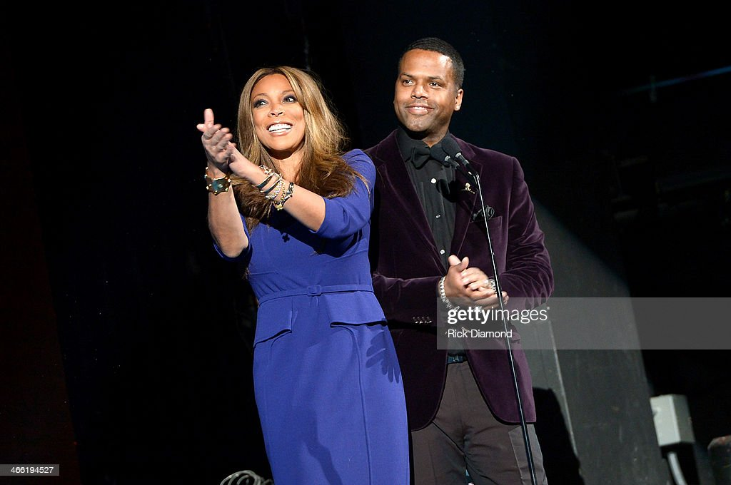 Hosts <a gi-track='captionPersonalityLinkClicked' href=/galleries/search?phrase=Wendy+Williams&family=editorial&specificpeople=4134023 ng-click='$event.stopPropagation()'>Wendy Williams</a> (L) and A. J. Calloway speak onstage at the Super Bowl Gospel Celebration 2014 at The Theater at Madison Square Garden on January 31, 2014 in New York City.