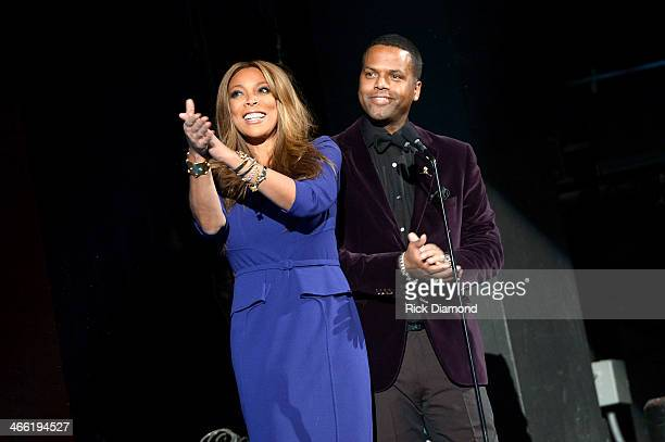 Hosts Wendy Williams and A J Calloway speak onstage at the Super Bowl Gospel Celebration 2014 at The Theater at Madison Square Garden on January 31...