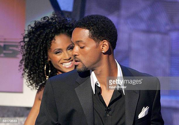 Hosts Will and Jada Pinkett Smith speak onstage at the BET Awards 05 at the Kodak Theatre on June 28 2005 in Hollywood California