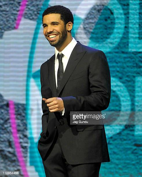 Host/singer Drake on stage at the 2011 Juno Awards at the Air Canada Centre on March 27 2011 in Toronto Canada