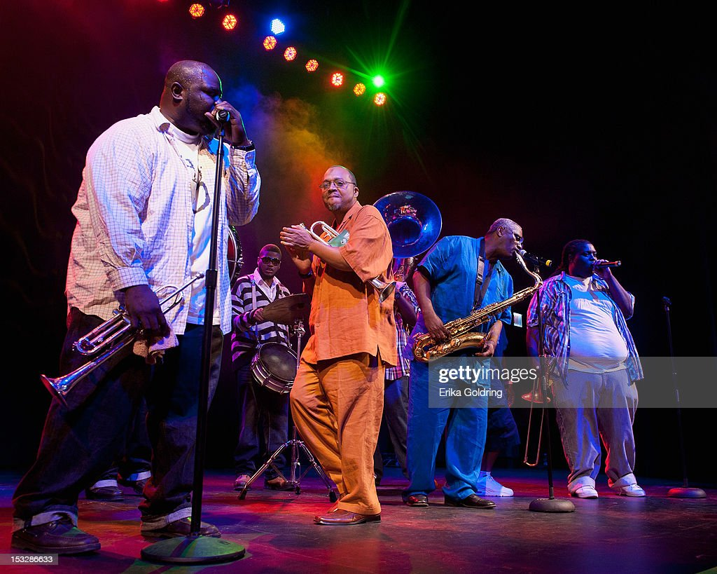 Hot 8 Brass Band performs at the 'Flip the Script' Public Awareness campaign launch at The Joy Theater on October 2, 2012 in New Orleans, Louisiana.