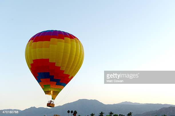 A hot air ballon is seen during day 1 of the 2015 Coachella Valley Music And Arts Festival at The Empire Polo Club on April 17 2015 in Indio...