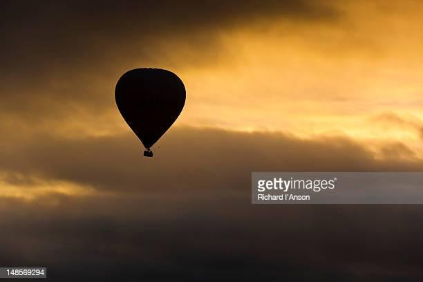 Hot air balloon at sunrise.