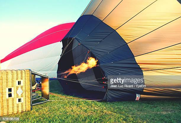 Hot Air Balloon Being Prepared To Take Off