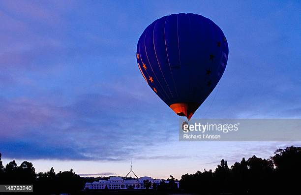 Hot air balloon from Balloons Aloft taking off in front of Old Parliament House.