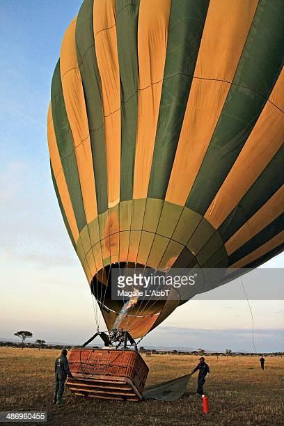 Hot air balloon getting ready to go on safari Tanzania