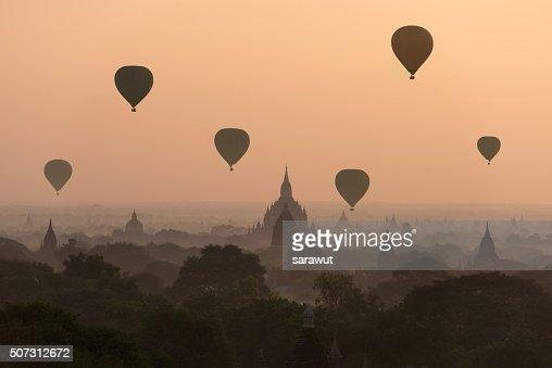 Hot air balloon over Bagan temples