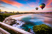 Hot air balloon over Bondi beach in summer, Sydney, New south wales, Australia