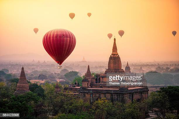 Hot air balloon over plain of Bagan in misty morning, Mandalay, Myanmar