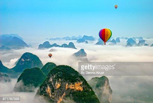 Hot Air balloon over Yangshou