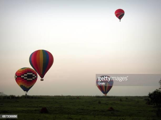 Hot air balloons countryside Brazil