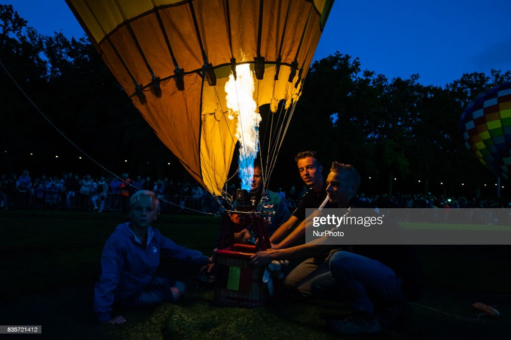 Hot air balloons of various shapes are seen during a Balloon Festival in Barneveld, Netherlands, on 19 August, 2017. In the Dutch city of Barneveld, a balloon festival has been organised for over thirty years. This year is the 35th time that this festival has been celebrated. It's ranked among the best balloon festivals in Holland. Every evening the festival ends with a marvelous night glow and full colour laser show. This year around 39 balloons have participated.