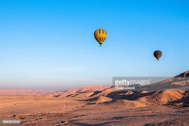 Hot air balloons over desert