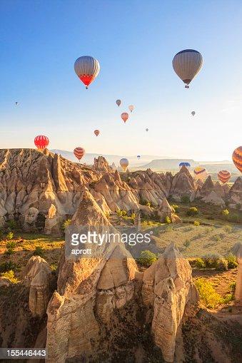 Hot air balloons over Love Valley, Cappadocia, Turkeys