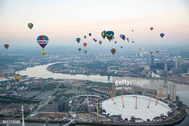 Hot air balloons over the London Skyline on June 19 2016 in London England 46 balloons take to the air today as part of the annual Lord Mayor's Hot...