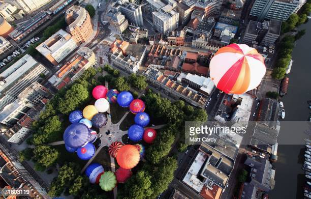 Hot air balloons rise above Bristol city centre on August 8 2006 in Bristol England The early morning flight is seen as a warmup for the...