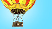 Hot Air color balloon 3d render on blue background