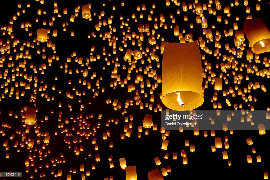 Hot air fire lantern closeup at Yee Peng festival