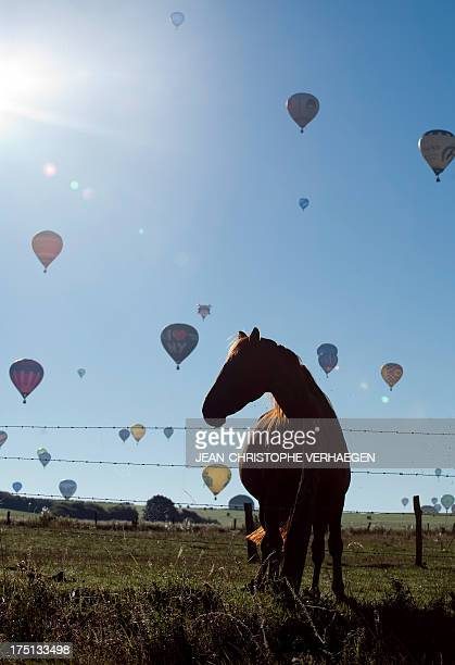 Hot airballoons fly over ChambleyBussières eastern France on August 1 2013 as part of the yearly event 'Lorraine Mondial Air Ballons' an...