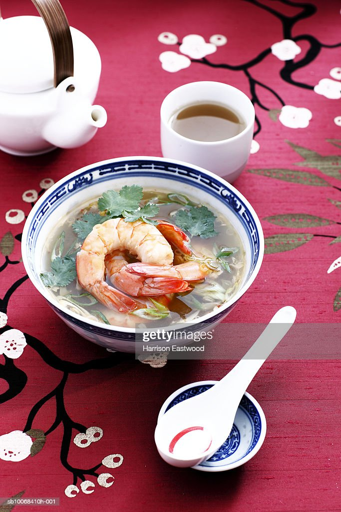 Hot and Sour prawn soup : Stock Photo