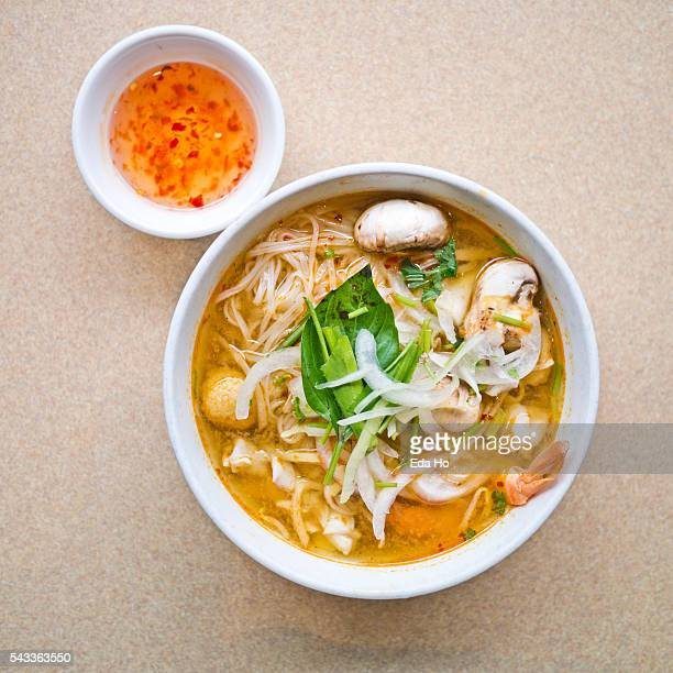 Hot and Spicy Seafood Pho Noodle Soup Overhead