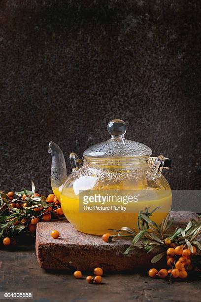 Hot berry sea buckthorn tea drink
